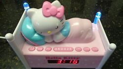 Hello Kitty Sleeping in Bed Kitty Lighted Alarm Clock Radio With Battery Backup