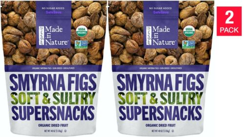 2 Packs Made In Nature Organic Sun Dried Smyrna Figs, 40 oz Ea Bag  Dried Fruit