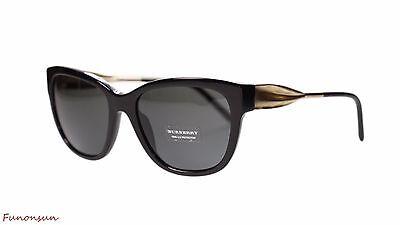 b306d85815ec Burberry Women's Sunglasses BE4203 300187 Black Gold/Grey Lens Cat Eye  Authentic