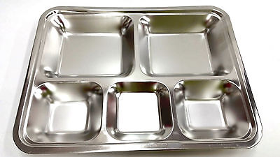 5 Food Compartments Tray (Stainless Steel 5 Compartment Food Serving Tray Cafeteria Restaurant)
