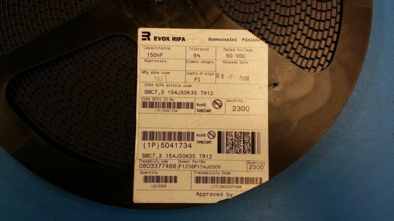 (2 PCS) KEMET EVOX RIFA CAP FILM 0.15UF 5% 50VDC 2824 ROHS SMC7.3154J50K35TR12