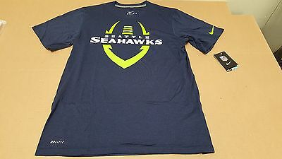 Seattle Seahawks Football ICON NFL Men's DRI-FIT Navy Blue T-Shirt by Nike NEW Navy Blue Nfl Football