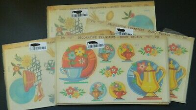 LOT OF 8 FULL CARDS  DURO DECALS 1940'S RETRO KITCHEN DECORATIVE TRANSFERS