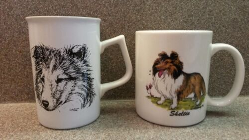 2 VINTAGE PORCELAIN SHELTIE SHETLAND SHEEPDOG COFFEE TEA MUGS