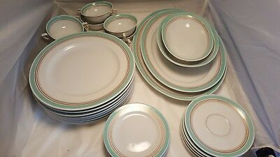30 pc. ROYAL BAYREUTH dish set turquoise & gold serving platter bowls plates  - Turquoise Dish Set
