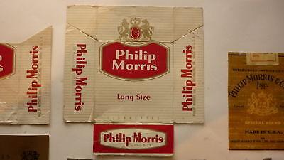 Vintage Old American Usa Cigarette Packet Label  Philip Morris Long Size