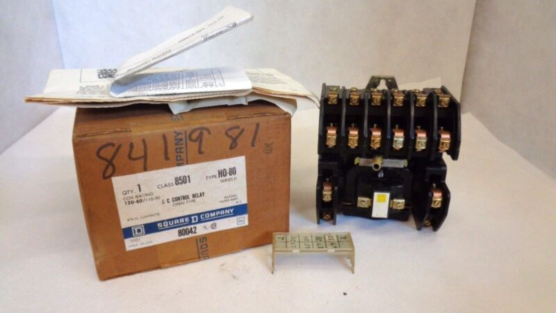 NEW IN BOX SQUARE D 8501 HO-80 SER D AC CONTROL RELAY