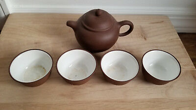 Chinese Yixing Zisha Clay Teapot / 4 Cups Set With Nice Simple Design