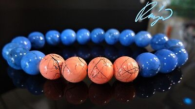 """Abstract PEACH & BLUE Gemstone bead bracelet for Men Stretch 10mm - 8"""" inch"""