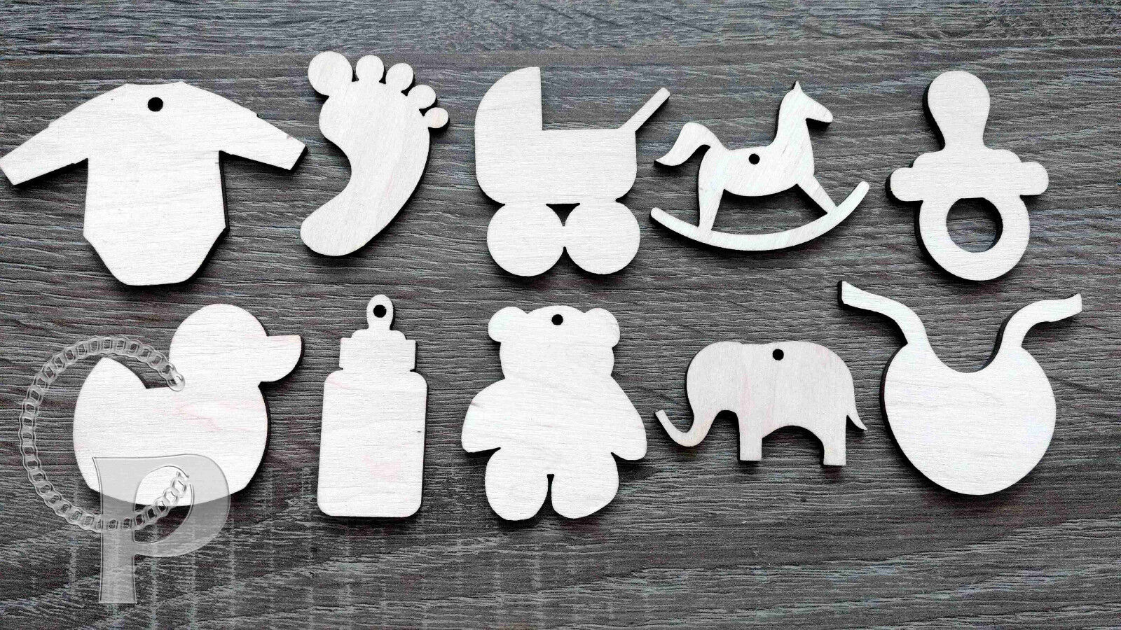 Wooden shapes baby shower themed for crafts gift tags blank