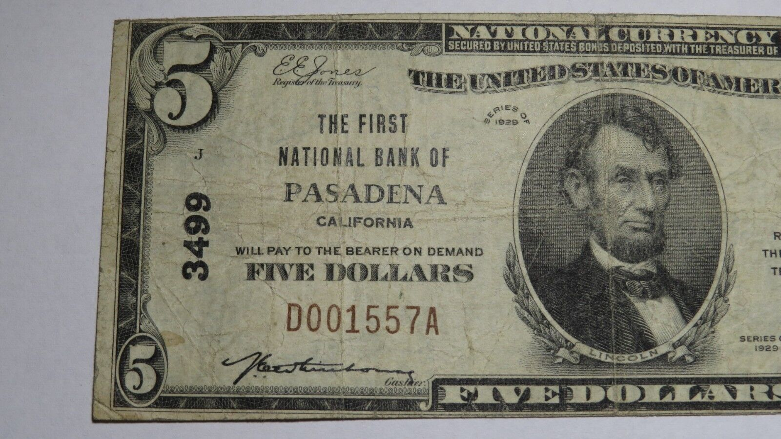 $5 1929 Pasadena California CA National Currency Bank Note Bill Ch. #3499 FINE
