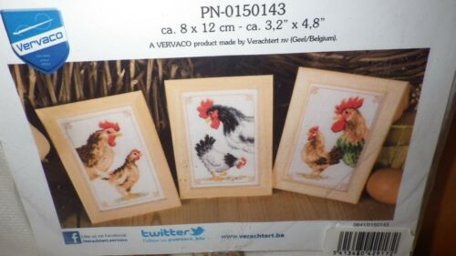 Vervaco Cross Stitch Kit, Chickens & Roosters,#PN-0150143,NIP