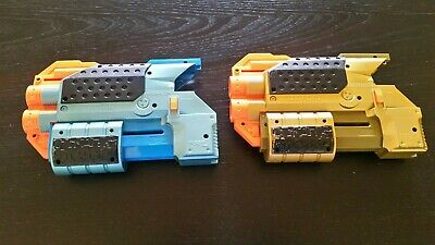 Lot 2 Nerf Lazer Tag Phoenix LTX Shotgun Attachments -VGC, Works- Blue & Gold