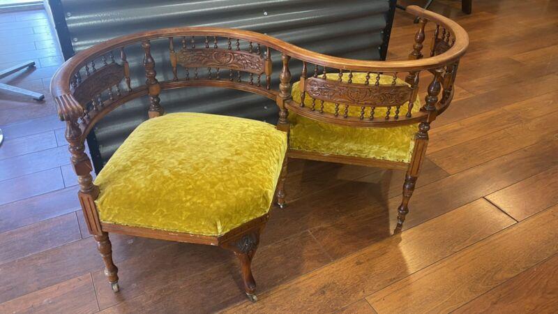 Rare Antique Victorian 1860's Tete A Tete Love Conversation Gossip Sofa Seat