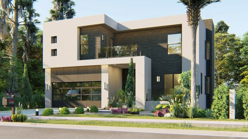 BLUEPRINTS CONTEMPORARY TWO STORY HOUSE PLAN ARCHUP #101