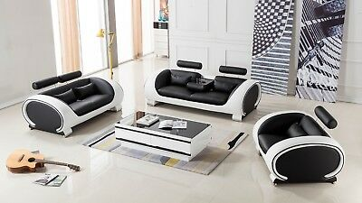 3 PC Modern Black with White Leather Sofa Loveseat Chair Living Room Set ()