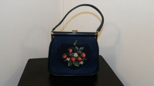 Vintage Purse, Needlepoint Strawberries on Blue Handbag, JR Made in USA
