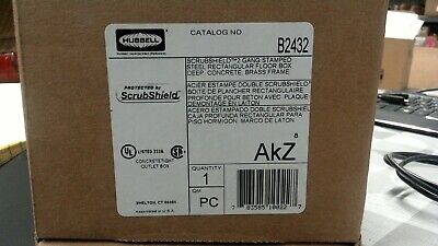 Hubbell B2432 Scrubshield 2 Gang Stamped Steel Floor Box Free Shipping