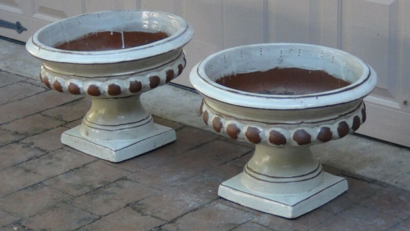 PAIR ANTIQUE  LARGE BEIGE GLAZED TERRACOTA PLANTERS ON SQUARE BASE