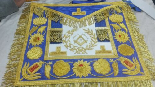 HAND EMBROIDED MASONIC GRAND MASTER APRON BLUE and GOLD