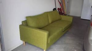 Modern 3 Seater Green Fabric Couch Excellent Condition Aldinga Beach Morphett Vale Area Preview