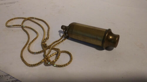 Vintage Antique US Army WWI Trench Siren, Bobbie Brass Whistle WITH ADDED CHAIN