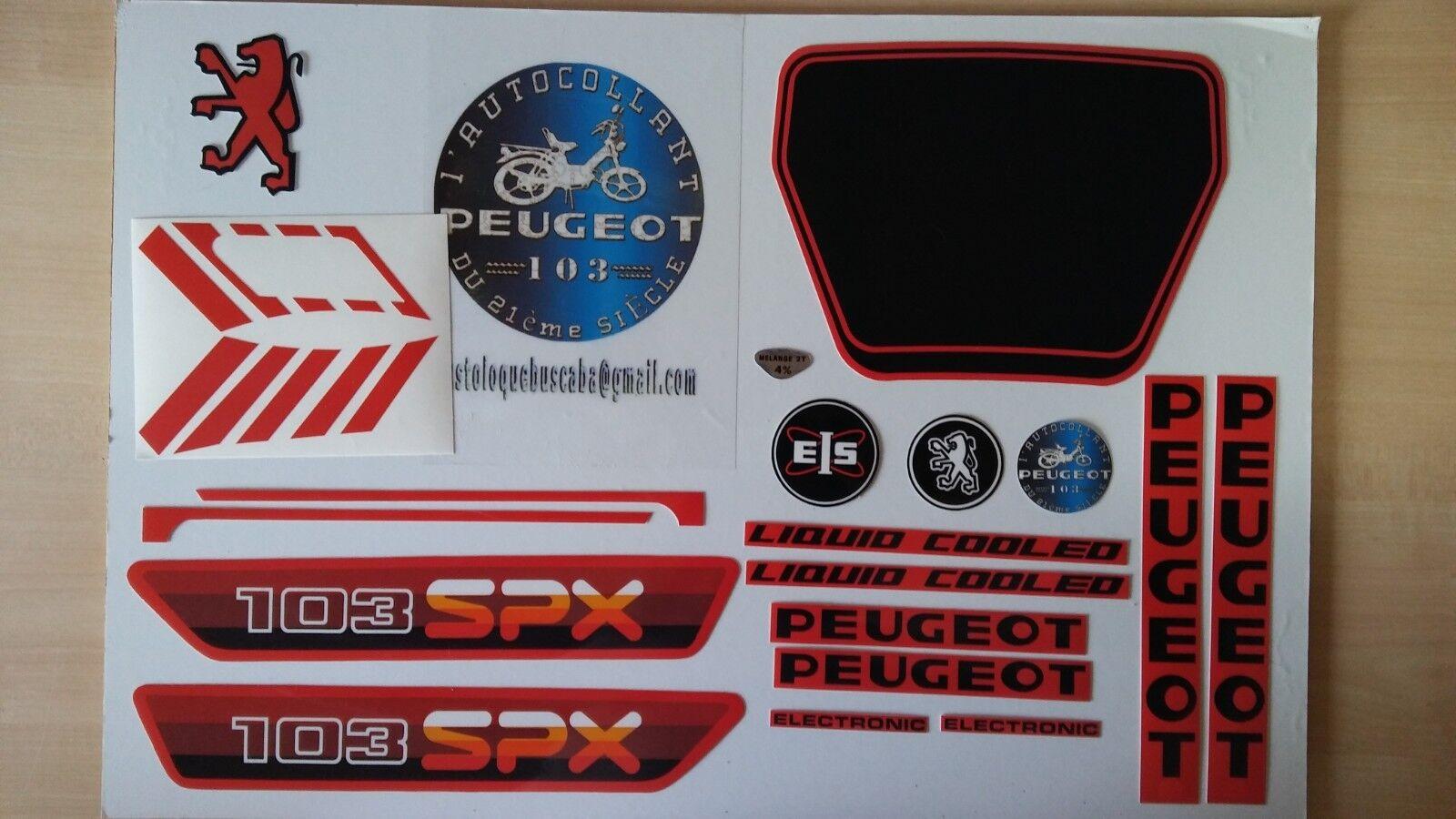 Autocollant Peugeot 103 SPX PH1 Rouge/Noir.