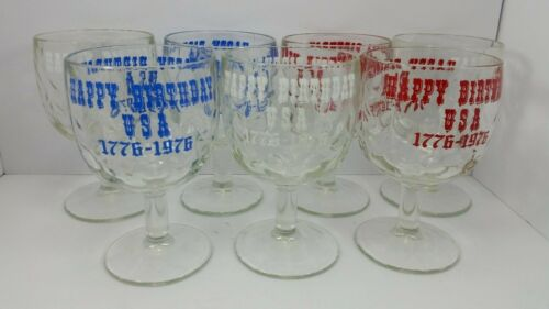 VTG Stem Goblets Happy Birthday USA 1976 LOT of 7 Thumbprint Glasses 70