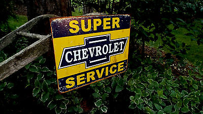 Super Chevy Service TIN SIGN Vintage Rustic Garage  Metal Wall Decor Chevrolet