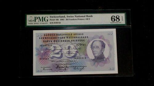 1961 SWITZERLAND 20 FRANKEN PMG SUPERB GEM 68 EPQ 20F NOTE Bill BUY IT NOW!