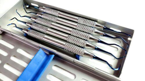 5 PCS Implant Scaler / Curettes Tray With Sterilization Cassette Set Titanium.