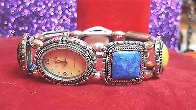 Vintage STERLING SILVER WATCH DESIGNER  Ecclissi  Real Gemstone  Lapis-Turquoise