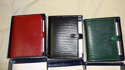Filofax Pocket Tejus Original Green Red Black Purse Organizer Leather Vintage