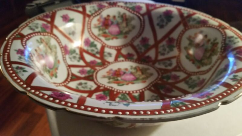 Bowl by Limoges China,  Victorian People and Flowers