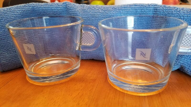 Set of 2 Nespresso Coffee Clear Glass Espresso Cups original