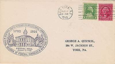 1932 George Washington Bicentennial Federal Hall Cachet Cancel Federal Congress2