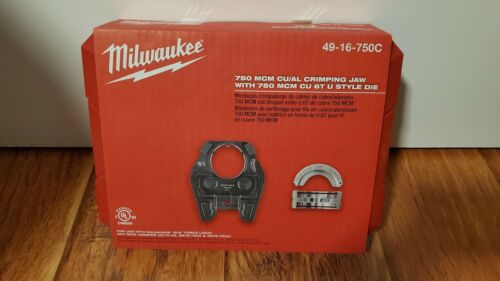 New Milwaukee 49-16-750C 750 MCM Cu/Al Crimping Jaw with 750 MCM Cu 6-Ton U Die