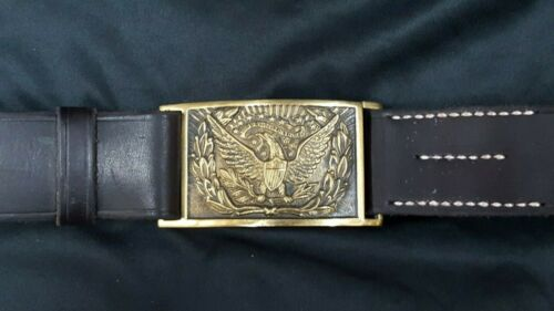 Handmade Leather Belt & Reproduction U.S. Military Eagle Belt Buckle & Keeper