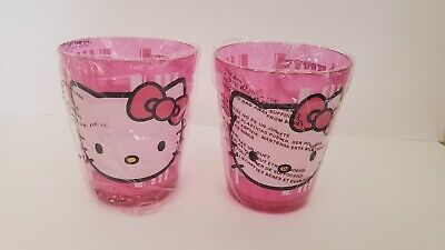 Cute Hello Kitty Plastic Pink Cup (12oz) 2 Cups