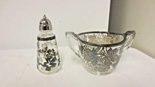 Lot 2 Older Elegant Silver Overlay Clear Glass: Sterling Shaker-Grape Sugar bowl