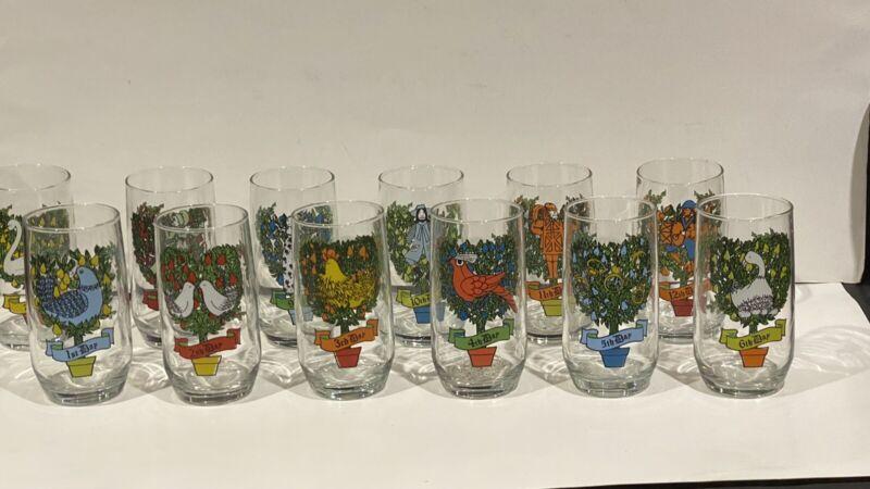 12 Days of Christmas Complete Set Vintage Anchor Hocking 12 Oz Glasses w Box