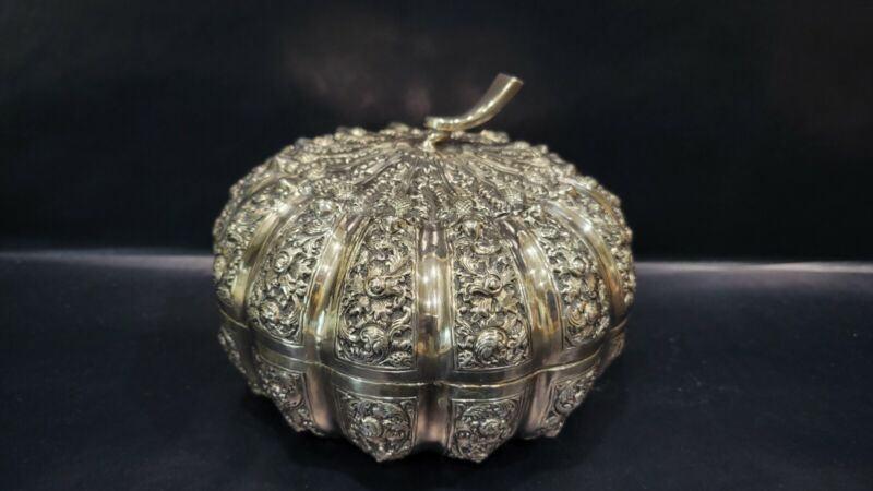 Vintage Cambodian 900 Silver Pumpkin Shaped Box, 330 grams