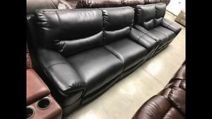 New 3Piece Stationary Black Leather Couch Sofa, Love Chair