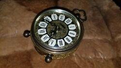 Old vintage Westclox Germany wind up travel alarm clock Fancy Ornate Brass roman