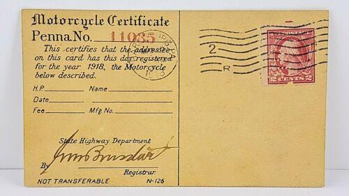 Motorcycle 1918 Pennsylvania Registration Certificate