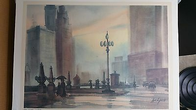 WATERCOLOR PRINT OF OLD CHICAGO CHARM BY TOM LYNCH SIGNED IN PENCIL
