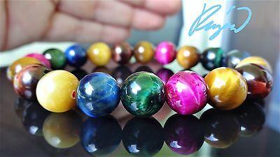 "AAA+ GENUINE Multi-Color Tiger Eye Bracelet for Men Women Stretch 10mm 7.5"" inch"