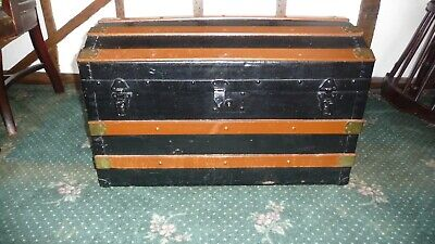 Antique 19th Century Wood And Brass Bound Travelling Trunk/Chest w/dome top