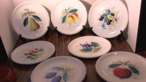 Westmoreland beaded edge milk glass plates . 7.5 inches.different fruits