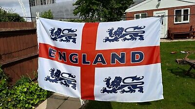England flag 5 x 3 FT - 100% Polyester With 4 lions. Eyelets World Cup sports.